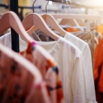 Clothing organized in closet