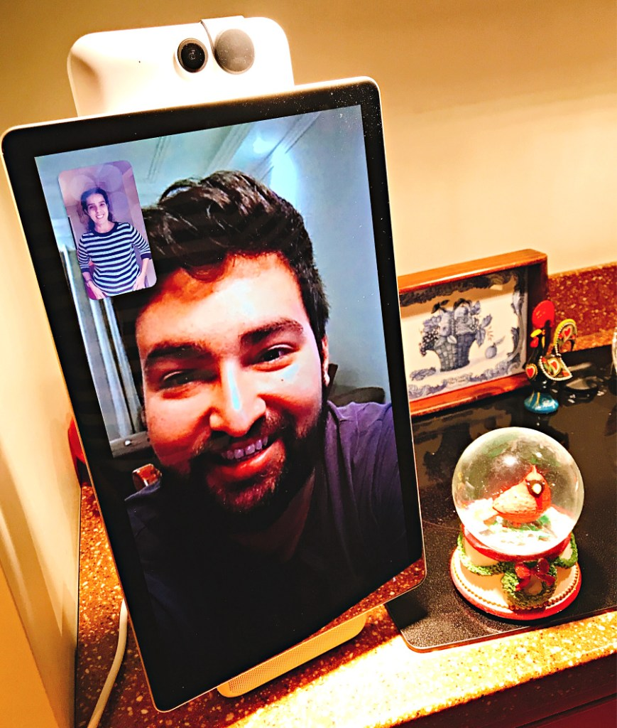 Connecting with families abroad using facebook portal