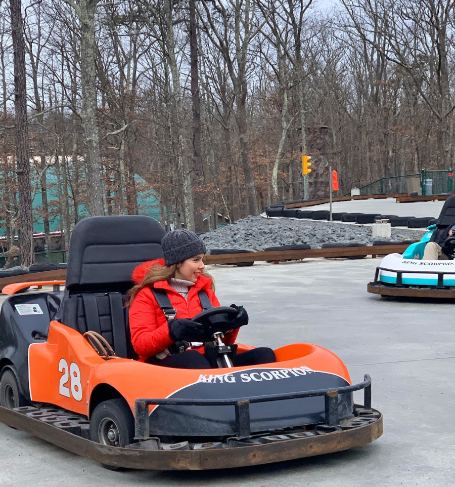 go cart riding at woodloch resort