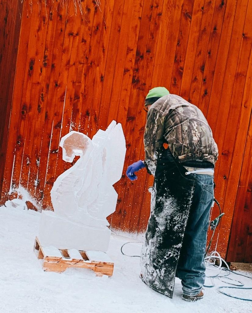 ice sculpting at Woodloch