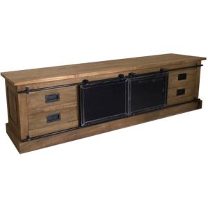 tv meubel teakhout 2 metalen schuifdeuren