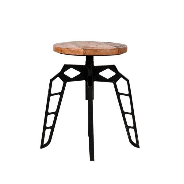 Kruk Pebble Zwart Metaal Rough Mangohout 35x35x52 cm Vooraanzicht 1