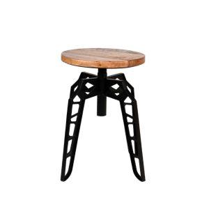 Kruk Pebble Zwart Metaal Rough Mangohout 35x35x52 cm Vooraanzicht 3 2