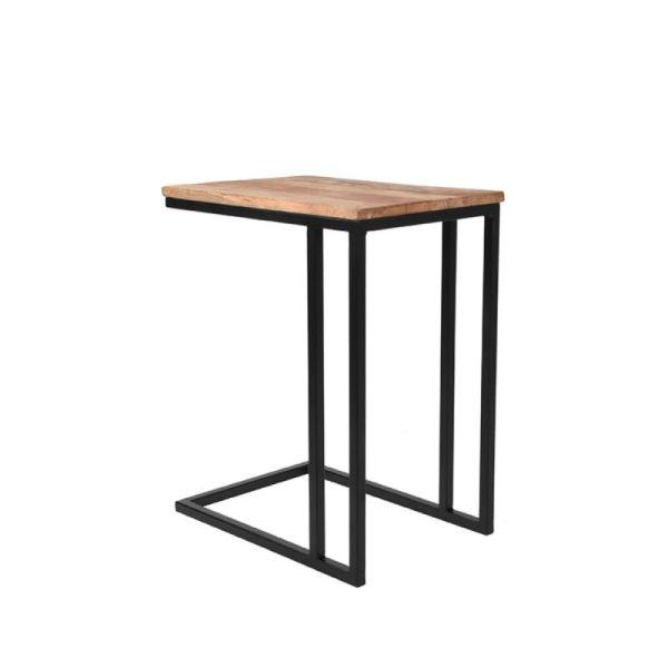 Laptoptafel Move Rough Mangohout Zwart Metaal 35x50x61 cm Perspectief 1
