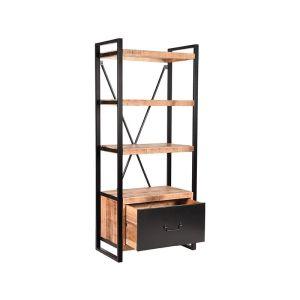 boekenkast brussels lade rough mangohout 80x45x185 cm perspectief 2 2