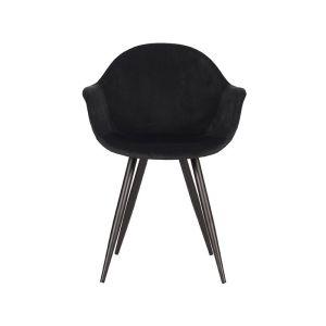 eetkamerstoel forli zwart fluweel zwart metaal 60x58x83 cm vooraanzicht