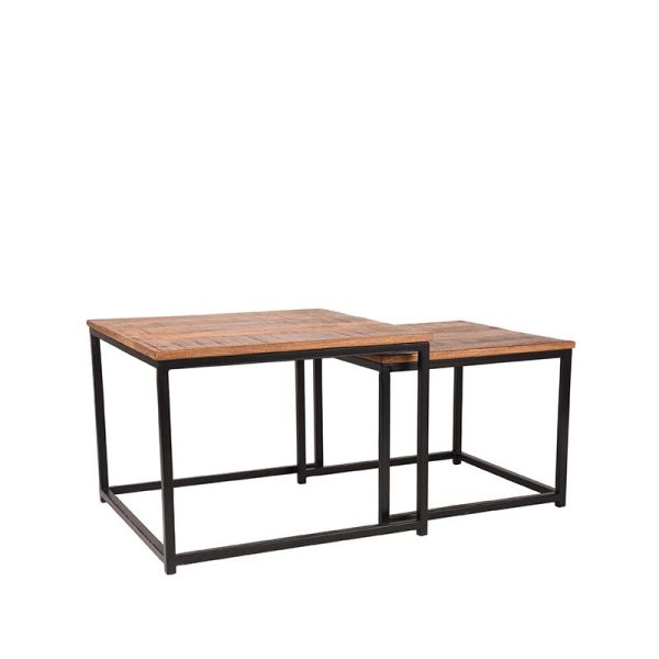 salontafel set couple zwart metaal rough mangohout 60x60x45 50x50x40 cm perspectief 1