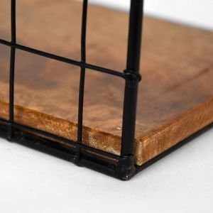 wandrek firm zwart metaal rough mangohout 20x15x30 cm detail 2