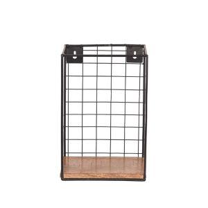 wandrek firm zwart metaal rough mangohout 20x15x30 cm voorkant 2