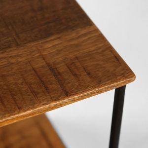 wandrek vintage zwart metaal rough mangohout 50x20x50 cm detail 1 1