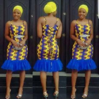 ankara armless gown design