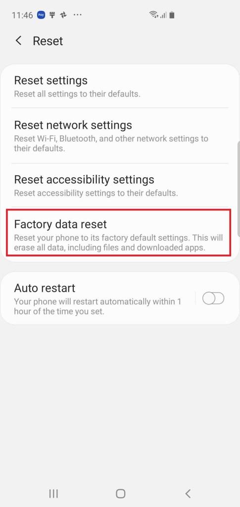 Hard reset on Samsung Galaxy S10 via setting menu