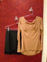 Trendy Store_Blusa renda e saia em couro ecológico