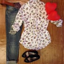 Trendy Store_Camisa corujinha e calça boyfriend Jeanseria