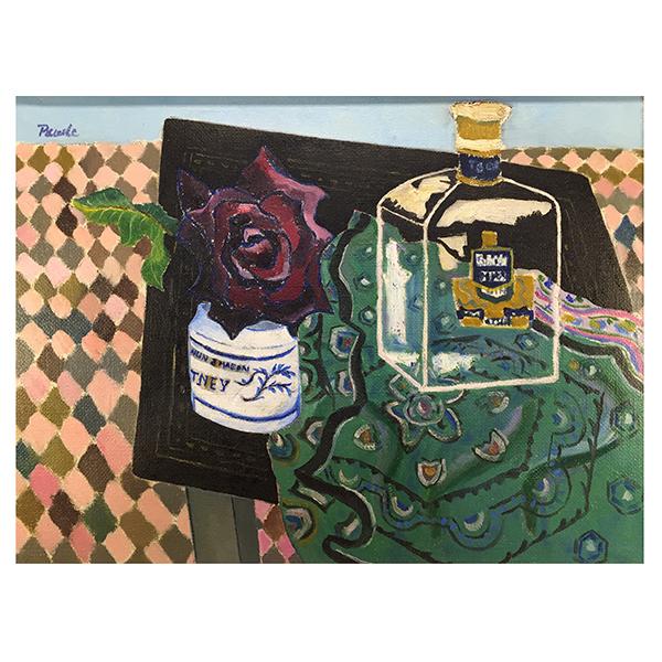 Still-life-study-of-a-Rose-beside-a-Glass-Spirit-Decanter-John-Pawle-Trent-Art