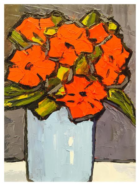 Poppies in a Purple Vase Still Life, David Barnes