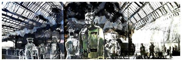 Pearsall, Ian R. (1967 – ) Hero's Gate (Stoke Railway Station) Triptych - Trent Art