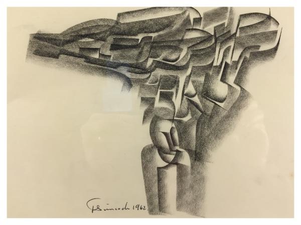 1962 Abstract Pencil Drawing #2, Jack Simcock