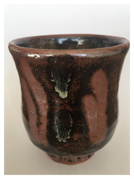 Yunomi - Tenmokuwith Fingerwipes and Copper Pours, Jim Malone