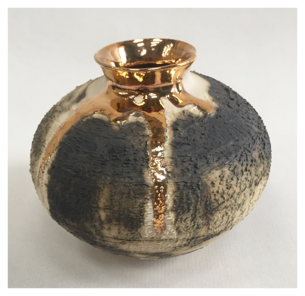 McCarthy, Alex ( ) Small Textured Vase with Gold Lustre I (Round) - Trent Art