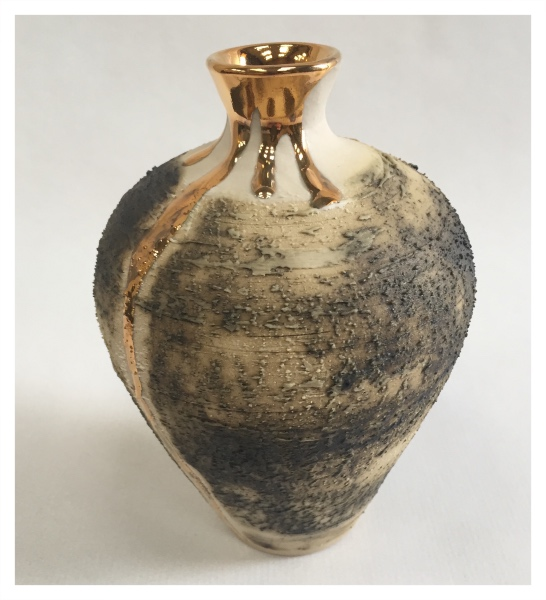 McCarthy, Alex ( ) Small Textured Vase with Gold Lustre I (Tall) - Trent Art