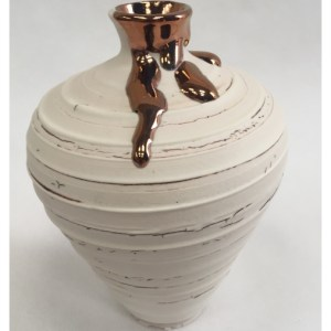McCarthy, Alex ( ) Small Textured Vase with Copper Lustre