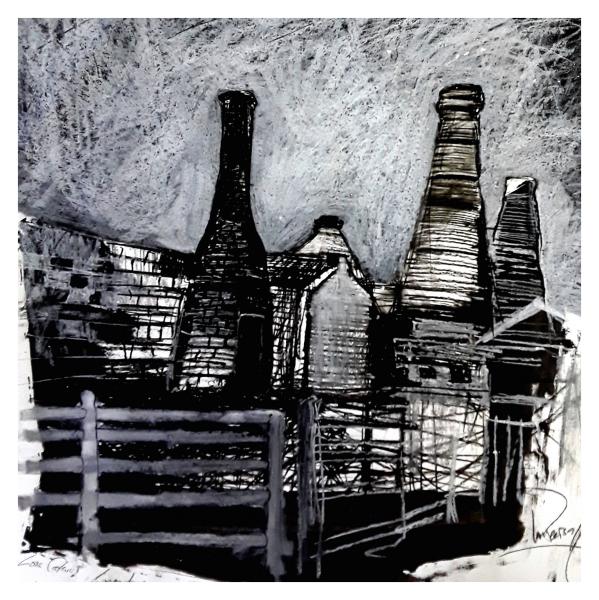 Pearsall, Ian R. (1967 – ) Waste ground on back streets (Longton) - Trent Art