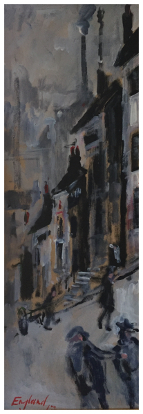 England, Frederick J NDD ATC (London) MFPS (1939 – ) Down Back Lane, Leek - Trent Art