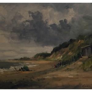 Taylor, Ivan (1946 – ) Blustery Day, Dunwich, Norkfolk