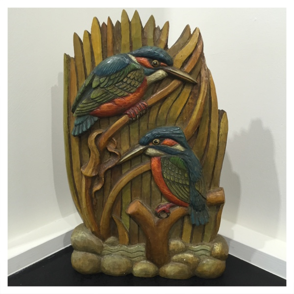 Clarkson, Jack (1906-1986) Two Kingfishers Woodcarving - Trent Art