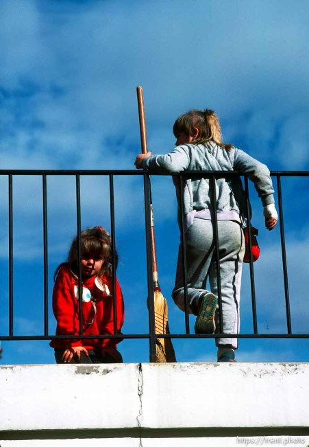 Two girls and a broom, march 1988.