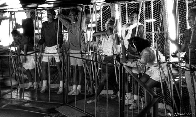 People sick towards end of spining ride at carnival.