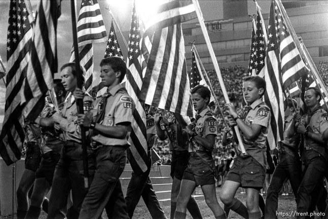 Flag carrying boy scouts at Stadium of Fire show.