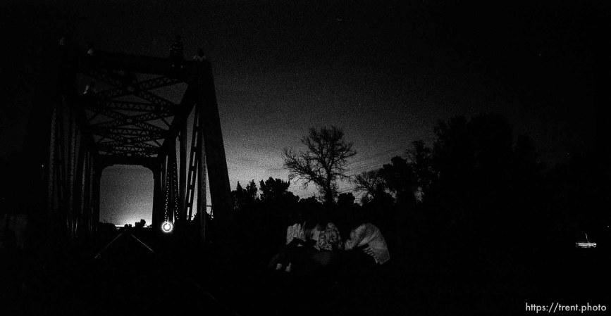 People on and around the bridge.