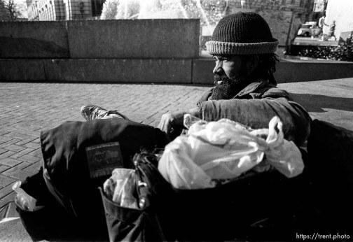 Homeless man on Market Street, Sepember 1988.