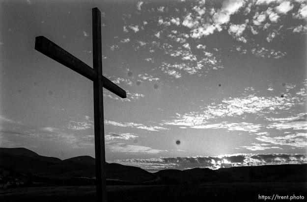 cross and sunset (complete with spots on neg).