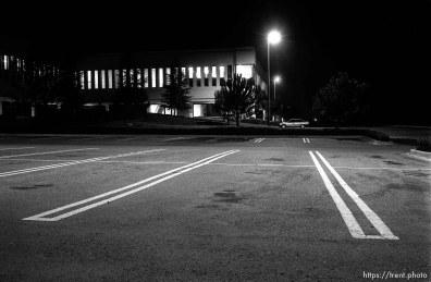 Bishop Ranch building at night.