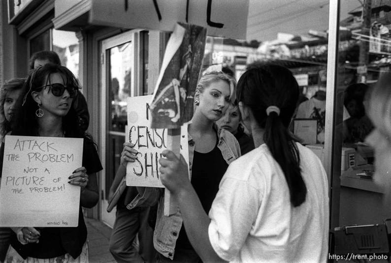 Protest against Guns & Roses in front of Tower Records due to art on their album that women found offensive.