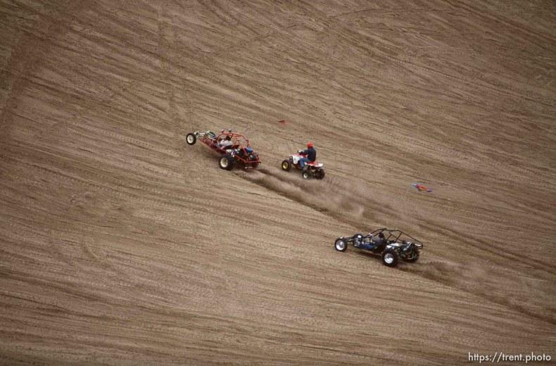 ATV and Dune buggies going up Sand Mountain.