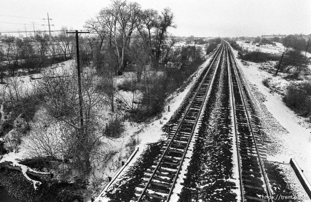 Railroad tracks from the Train Bridge, in winter with snow.