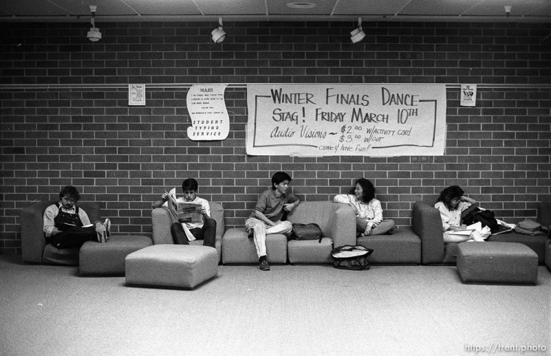 Students studying in hallway at Utah Valley Community College.