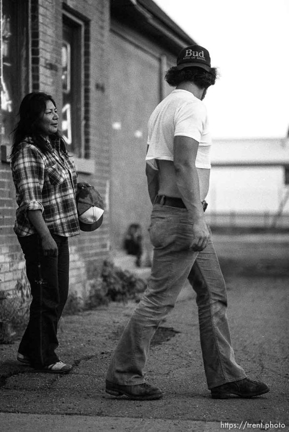 Street couple having an argument.