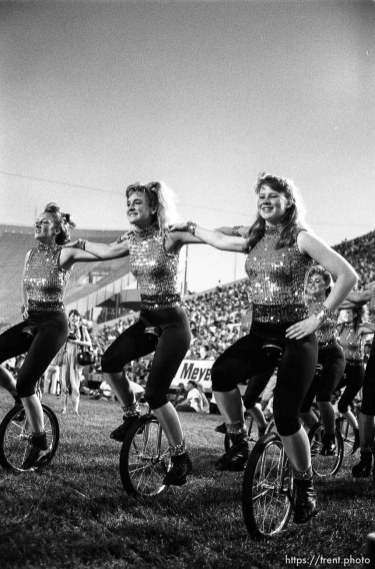 Girls on unicycles at Stadium of Fire.