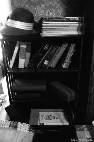 Bookcase and Kentucky Fried Chicken's Colonel Sanders at Nana's house.