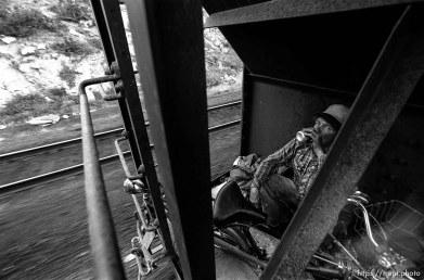 Casey riding train.