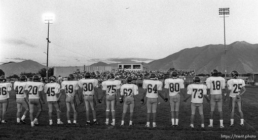 Mountain View players line up at American Fork vs. Mountain View football game.
