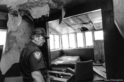 Eureka Police Chief Fullmer checks out an abandoned house.