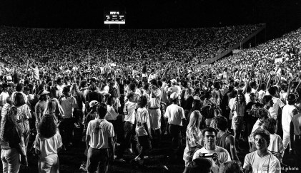 Fans on the field during celebration at BYU vs. Miami. BYU won.