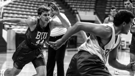 Drills at BYU basketball practice.