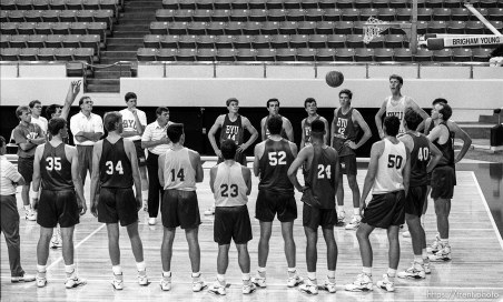 Free throw drill at BYU basketball practice.